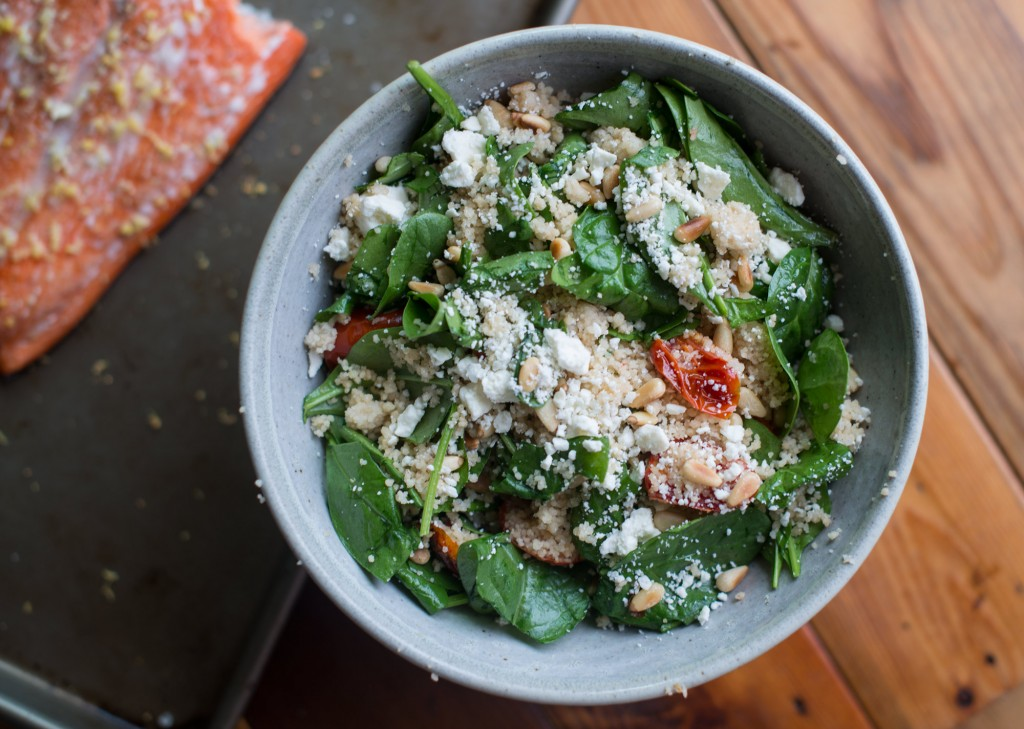 Slow Baked Salmon and Spinach Couscous Salad